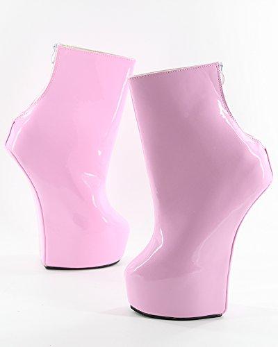 femme 20cm Wonderheel sexy cuir fétiche heelless pink plateforme bottes verni chaussures UFqCFvwx