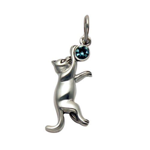 Sterling Silver Jumping Cat Pendant w/Faceted Blue Crystal Stone