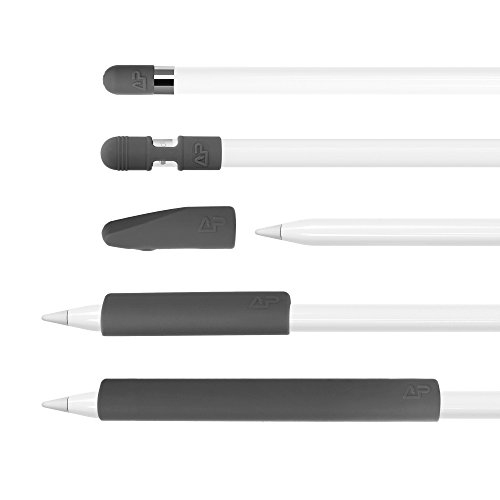 5 pcs Premium Silicone Pencil Full Protection Tip Cover Cap Holder Set for Apple Pencil (Gray)