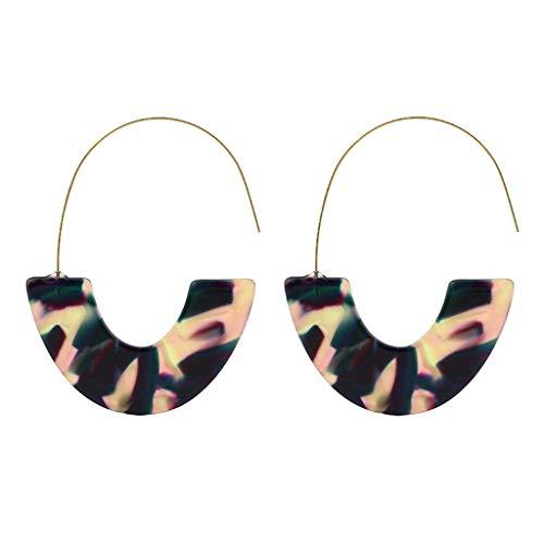 WUAI Acrylic Hoop Earrings,Bohemian Statement Earrings Wire Drop Dangle Earrings Best Jewelry Gift for Women Girls