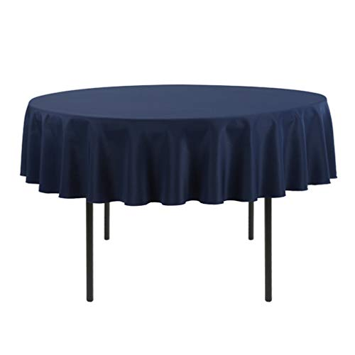 E-TEX 70-Inch Round Tablecloth, 100% Polyester Washable Table Cloth for Circular Table, Navy Blue