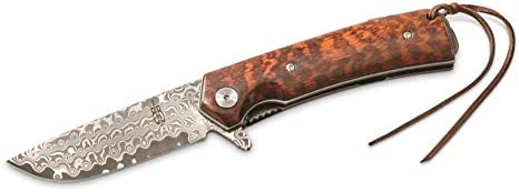 BucknBear Custom Handmade Swiss Damascus Smooth Folding Knife Snakewood Handle