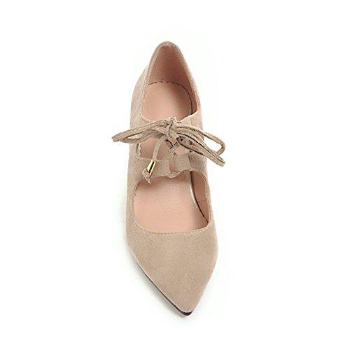 TAOFFEN Beige Pumps Heel Women 30 Spring Shoes Block nrWvxf8qvC