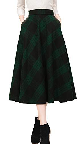 (chouyatou Women's Vintage Calf Length A-Line Pleated Midi Plaid Wool Skirt (Medium, Green))