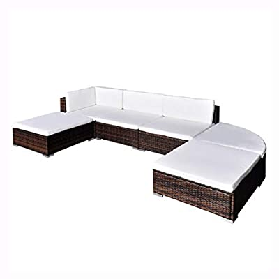 K&A Company Outdoor Furniture Set, Garden Lounge Set 16 Pieces Poly Rattan Brown