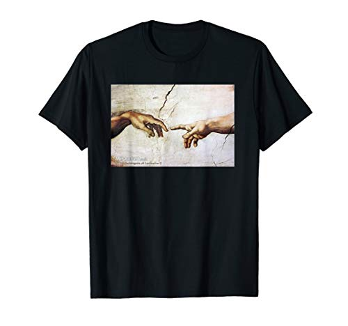 - The Creation of Adam by Michelangelo Classic Painting  T-Shirt