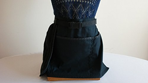Tie Apron (ADJUSTABLE NO - TIE APRON / 3 Lined Pockets Waist Apron / Black with black trim and attached towel - pen pocket and double sided buckles for closure. For women)