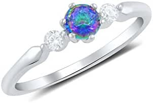 Sterling Silver Simulated Mystic Rainbow Topaz & Cz Ring (Size 4 - 10)