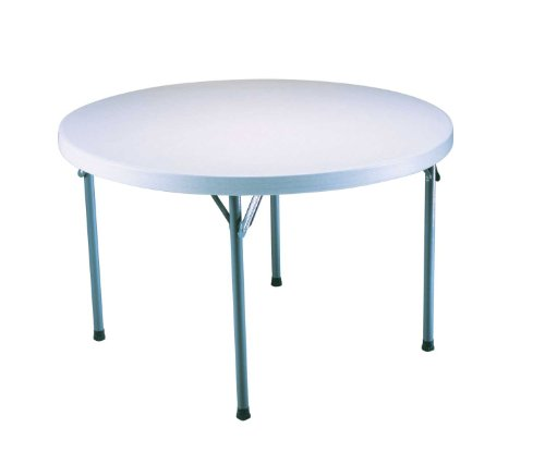 Lifetime 22960 Folding Round Table, 4 Feet, White Granite