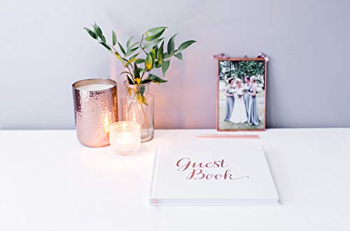 [New] Blank Wedding Guest Book Guestbook Rose Gold & White Paper with NO Lines - Registry Books - Rosegold Foil Stamping and 180GSM Paper 32 Pages 64 Sides Square Photo #4