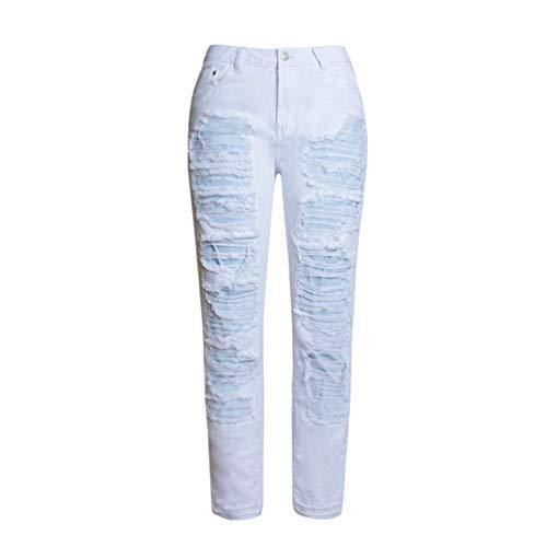 Blanco Alta Bolsillos Jeans Largos Cintura Vaqueros Pierna Rasgados Casuales Puro Mezclilla Con Color Agujero De Mujeres Recta Pantalones wqATfA