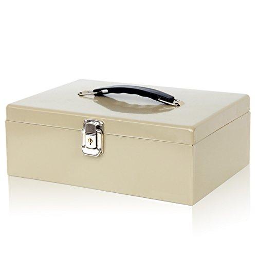 Jssmst Lock Cash Box with Money Tray - Portable Metal Security Money Box, 11L x 7.7W x 3.9H inches, Khaki, CB012-1 by Jssmst