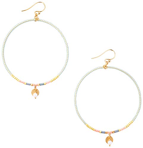 Chan Luu Multi Color Seed Bead with Gold Tone Discs Euro Wire Hoop Earrings (Green Mix) - Wire Euro