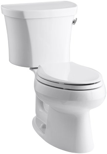 (Kohler K-3948-RA-0 Wellworth Elongated 1.28 gpf Toilet, 14-inch Rough-In, Right-Hand Trip Lever, White)