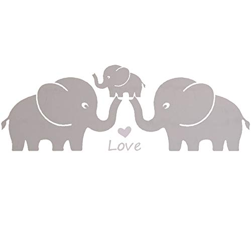 (MAFENT Three Cute Elephant Family Wall Decal with Love Hearts Quote Art Baby or Nursery Wall Decor Bedroom Decoration (Grey, Large))