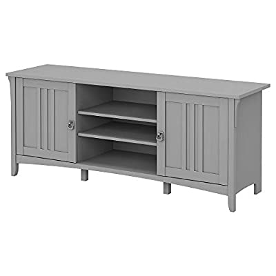 Bush Furniture Salinas 60W TV Stand for 70 Inch TV in Cape Cod Gray - Two cabinet doors each conceal one adjustable shelf for flexible storage of DVDs, video games and more Center compartment includes two adjustable shelves for displaying decorations or additional media storage Media Cabinet's doors open on smooth Euro Style hinges for easy access to contents - tv-stands, living-room-furniture, living-room - 31KNMPpJw0L. SS400  -