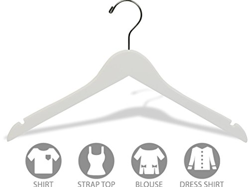 The Great American Hanger Company White Wood Top Hanger, Box of 50 Space Saving 17 Inch Flat Wooden Hangers w/Chrome Swivel Hook & Notches for Shirt Jacket or Dress by The Great American Hanger Company (Image #2)