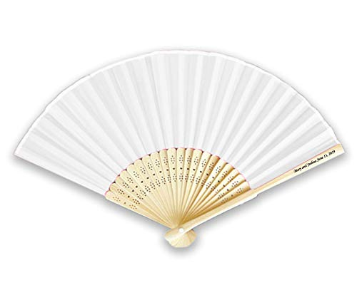 Personalized White Silk Fans with Side Print (Set of 100) by KimonoRobeStore