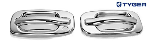 Tyger ABS Triple Chrome Plated Door Handle Cover Fits 00-06 GMC Yukon/99-06 Sierra/07 Classic/99-06 Chevy Silverado/07 Classic/00-06 Suburban/Tahoe 2 Doors Without Passenger Side Keyhole Chrome 1500 Triple Handle
