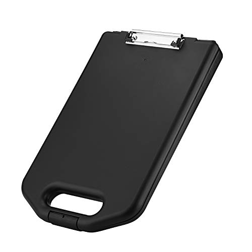 ZCZN Plastic Portable Clipboard Case, with Handle Suitable for School,Utility,Industrial Office, Medical Personnel,Black