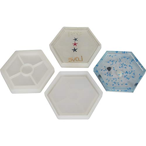 3 Pack DIY Hexagon Mold, Hexagon Coaster Silicone Mold, Molds for Casting with Resin, Cement