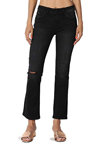 Seven 7 Jeans Crop Jean - TheMogan Junior's Faded Wash Slashed Knee Mid Rise Crop Boot Cut Jeans Black 7