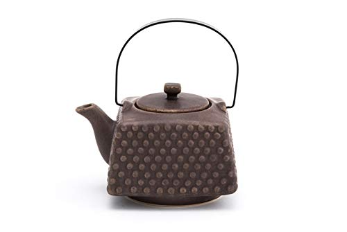 Fuji Merchandise Ceramic Cube Shape Teapot with Stainless Steel Infuser and Metal Handle 25 fl ounce Brown Matte Glaze Finish