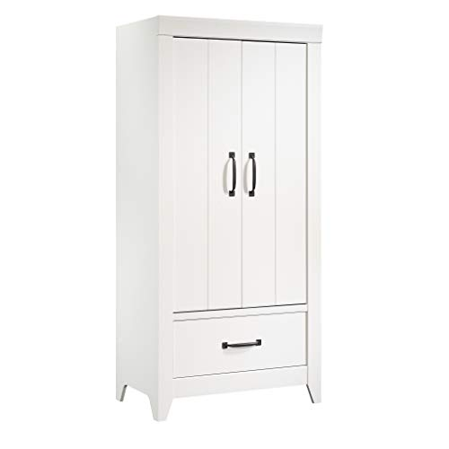 Sauder Adept Storage Wardrobe, L: 33.39″ x W: 20.55″ x H: 71.02″, Soft White Finish