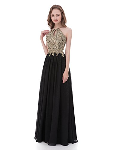 (Gold Lace Top Chiffon Bottom A-Line Keyhole Halter Prom Dresses Long (US14, Gold and Black))