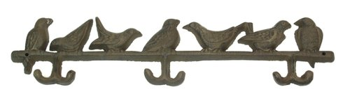 - Wall Mounted Hooks Birds Statue Perch Feeder Iron Sculpture Heavy Duty Hanging Coat Keys Hats Holder Indoor Outdoor Home Office Decorative Storage Tool (Set of 2)