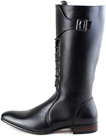 古典的な男性のヨーロッパのファッションのニーハイブーツPUレザーサイドジッパー格闘靴 快適な男性のために設計