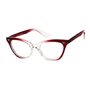 The Laura Vintage Cat Eye Reading Glasses for Women Fashion Quality Full Frame Readers +1.75 Red Clear Fade (Microfiber Cleaning Cloth Pouch Included)