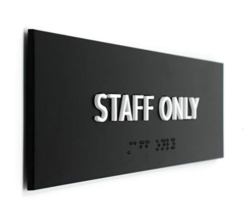Kubik Letters ADA Compliant Staff Only Sign, Modern Design Door Sign for Employees Only Area with 3M Double Sided Tape and Grade 2 Braille Alphabet by Kubik Letters