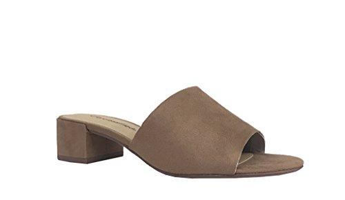 WATSON! Women'n Open Toe Chunky Heel Slide Sandals, Light Tan Faux Suede 7 M US