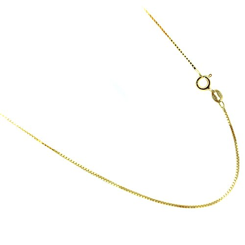 Sterling Silver Vermeil Necklace - Vermeil 1.1mm Box Chain Italian Gold Plated Over sterling Silver Necklace 14,16,18,20,22,24,30 Inches (20)