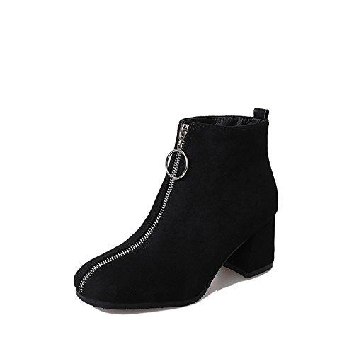 AGECC Damen Damen Winter warme Winterstiefel und British Fashion Square Allgleiches Slip Wildleder Kurze Stiefel Schuhe Viel Glück für Sie  | Spaß  | Online Store