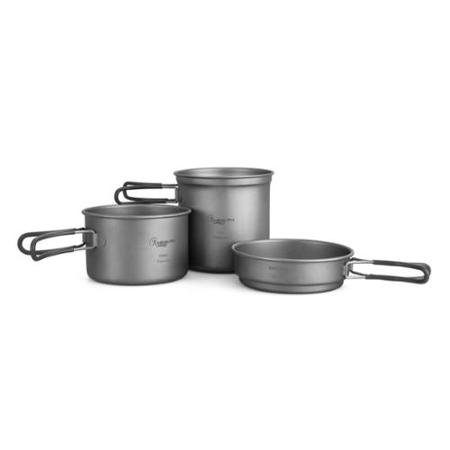 Wild Peak Titanium Lightweight 3-Piece (1.2L, 800ml, 400ml) Pot and Pan Camping Hiking Mess Kit Cookware ()