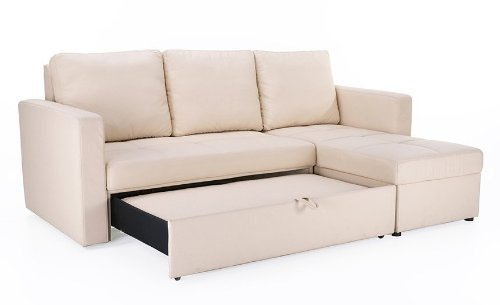 Amazon.com: Beige Faux Leather Sectional Sofa Bed With Right Facing Storage  Chaise: Kitchen U0026 Dining