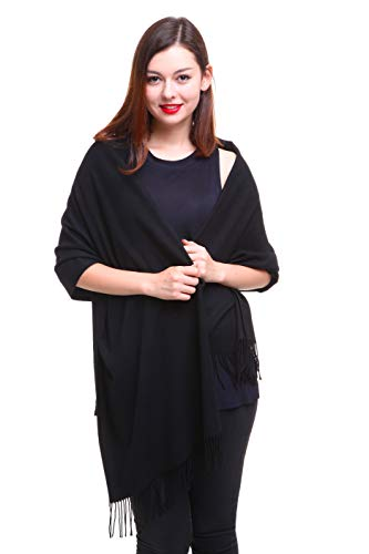 REEMONDE Womens Super Soft Long Shawl Solid Colors Warm Pashmina Big Scarf (Black)