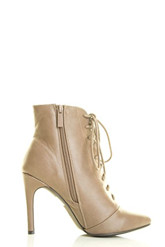 Breckelles Mujer's Pointy Toe Lace Up Cremallera Interior High Stiletto Tacón Botín Botaie Beige