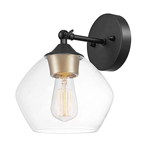 Globe Electric Harrow 1-Light Wall Sconce, Matte Black, Gold Accent Socket, Clear Glass Shade 51367