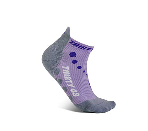 Thirty 48 Compression Low-Cut Running Socks for Men and Women (Small - Women 5-6.5 // Men 6-7.5, [1 Pair] Purple/Gray) by Thirty 48 (Image #1)