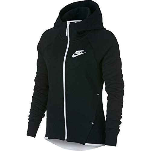 (Nike Womens Tech Fleece Full Zip Hoodie Black/White 930759-011-Size Large )