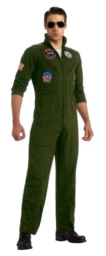 Flight Suit Costumes Men (Top Gun Secret Wishes Flight Suit, Green Khaki, Standard Costume)