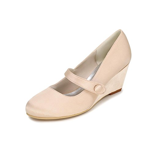 L@YC Mujeres Deslizamiento Boda Zapatos Personalizada 9140-03 Redonda Tie con Multi-Color Otoño Invierno Champagne