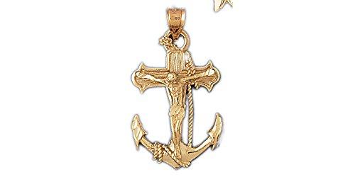- 14k Yellow Gold Mariners Cross/Crucifix Pendant