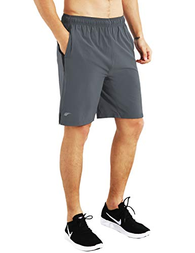"""EZRUN Mens 9"""" Lightweight Running Workout Shorts with Liner Loose-Fit Athletic Gym Shorts for Men with Zipper Pockets(Grey,M)"""