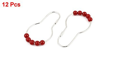 DealMux Bath Roller Ball Shower Curtain Rod Rings Clasp Hooks, Red, 12 Piece
