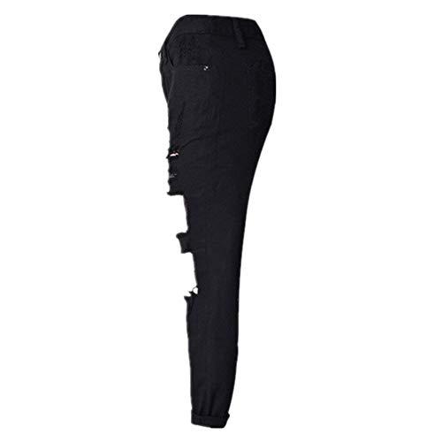 Loisirs Couleurs Jeans Vtements Droites Dchirs Dtruit Pantalons Denim Fashion Noir Jeans Loose Saoye Trois Trou Pantalons Femmes t6T6wH