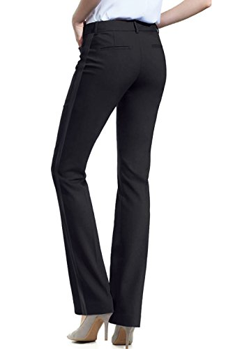 BodiLove Women's Full Lenth Performance Dress with Tuxedo-stripe Contrast Pants Black L